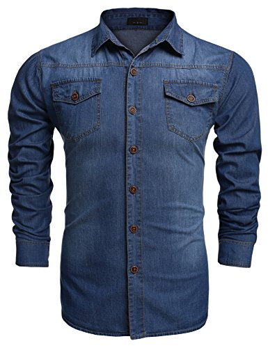 Burlady Jeanshemden Herren Langarm Denim Hemden Freizeit Shirts Regular Fit Hemden (XL, A-Hellblau)