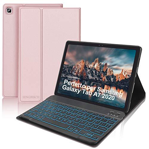 SENGBIRCH Tastatur mit Schutzhülle für Samsung Galaxy Tab A7 2020 10,4 Zoll (SM-T505/T500/T507) mit italienischer Hintergrundbeleuchtung, Bluetooth-Tastatur, schmal, mit Auto-Wecker/Schlaf, Roségold