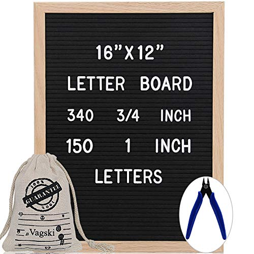 Letter Board 12 x 16 Inches - Vagski Black Felt Letter Board with 490 Letters Numbers & Symbols (150 1'' + 340 ''), Changeable Message Board Sign with Oak Wood Frame, Letter Pouch & Scissors VAG047