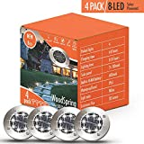 Solar Lights Outdoor, Pathway Disk Lights, 4 Pack 8-LED Solar Powered Waterproof Exterior for Patio Deck Yard Garden Path Pool Home Driveway Stairs Step (White-Upgraded)