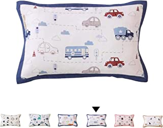 Omelas Baby Toddler Car Nursery Muslin Organic Cotton Pillowcase White and Blue, Colorful Cartoon Buses Route Street Light Cloud Pattern, Allergy-Free Soft Daycare Crib Pillow Cover 13x18in (1PC,#4)