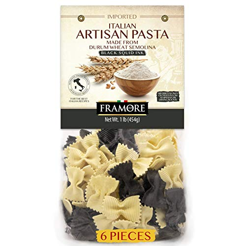 FRAMORE Bow Tie Pasta Black Squid Ink Farfalle Authentic Italian, Artisan Made, Imported, Gourmet