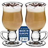 Crystalia Glass Coffee Mugs with Handle, Clear Footed Irish Coffee Cup Set, Tall Large Hot Toddy Glass for Hot Beverages, Iced Coffee, Latte, Hot Chocolate, Fancy Spanish Coffee Glasses 9 Oz Set of 2