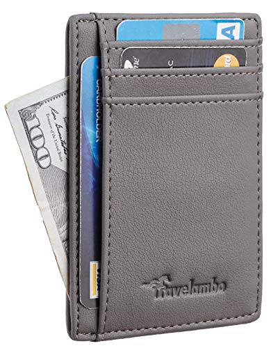 Travelambo Front Pocket Minimalist Leather Slim Wallet RFID Blocking Medium Size(Vipor Grey)