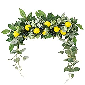 IMFILM Artificial Flower Swag, 18 Inch Handmade Floral Swag with Lemon Berry Faux Greenery Garland Artificial Decorative Swag Hanging Decorative Wreath for Wedding Party Front Door Decor