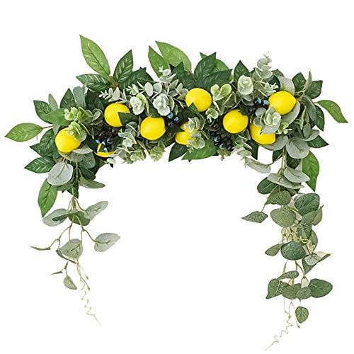 Artificial Floral Swag for Lintel,Spring Floral Swag with Fake Lemon,Hanging Decorative Swag,for Home Room Garden Lintel Wedding Arch Party Decor