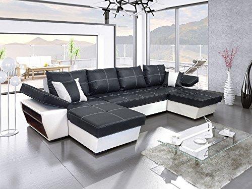 Modernes Ecksofa mit Schlaffunktion Espanya U Wohnlandschaft Bettkasten Schlafsofa XL U Form Kunstleder Gewebe Big Sofa 19