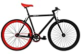 FabricBike - Vélo Fixie Noir, Fixed Gear, Single Speed, Cadre Hi-Ten Acier, 10Kg (L-58, Matte Black & Red)