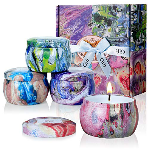 Scented Candles - Jasmine, Vanilla, Rose & Lavender, 4.4OZ Natural Soy Wax Portable Travel Tin Candle,Gift Set of 4