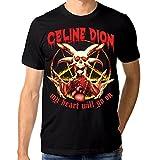 Celine Dion Funny Death Metal T-Shirt (M) Black