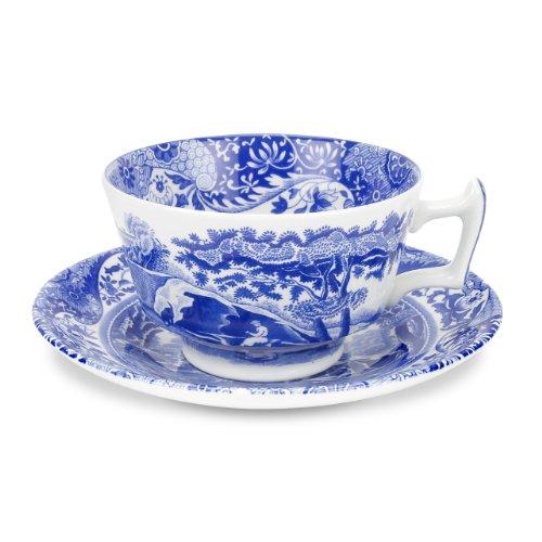 Spode - Taza de té y platillo italianos (4 unidades), color azul