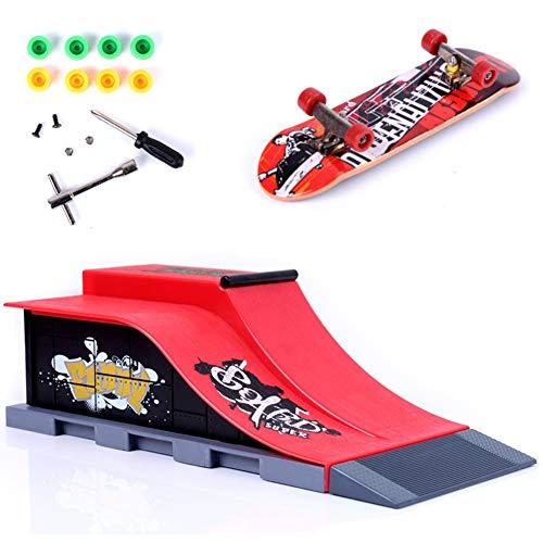 QNFY Mini Planche à roulettes à Doigts, Finger Skateboard avec Rampes de Skatepark Accessoires Entraînement Ultimate Parks de Fingerboard Toy Cadeau d'anniversaire pour Enfants (E)