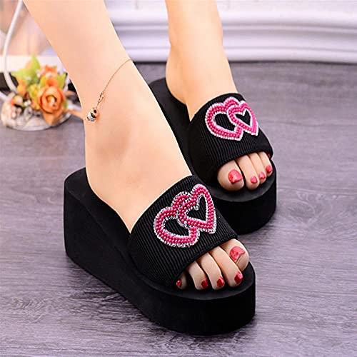 Perferct Zuecos Cross Mujer,Zapatillas De Fondo De Moda De La Moda De La Moda, Verano Altas con Una Palabra Arrastre, Zapatos De La Playa del TalóN De La CuñA-UE 39 (245mm / 9.65')_b