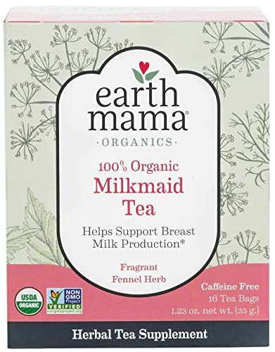 Organic Milkmaid Tea by Earth Mama | Supports Healthy Breastmilk Production and Lactation, Herbal Breastfeeding Tea Supplement, 16 Count