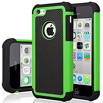 iPhone 5C Case iPhone 5C Cover Jeylly Shock Absorbing Hard Plastic Outer + Rubber Silicone Inner Scratch Defender Bumper Rugged Hard Case Cover for iPhone 5C - Green