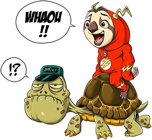 Okiwoki T-Shirt Noir Flash parodique Flash : Flash Taxi (Parodie Flash)