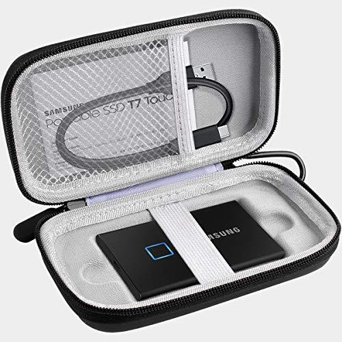 Carcasa compatible con Samsung T7 Touch SSD portátil (1 TB, 2 TB, 500 GB, USB 3.2 (MU-PC1T0K/WW), color negro