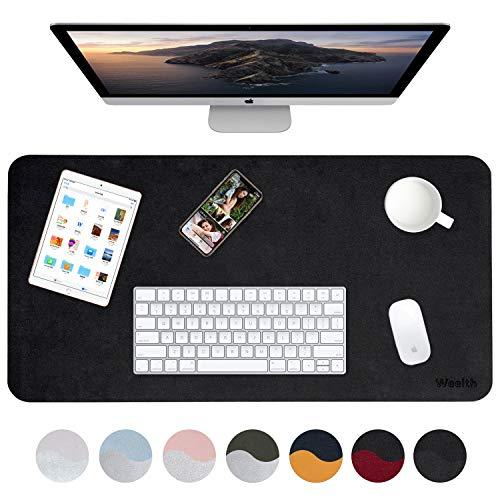 Weelth Multifunktionale doppelseitig Schreibtischunterlage, 900 * 430mm PU-Leder Tischunterlage ultradünn, wasserdicht, Mauspad für Büro/Zuhause (900 * 430mm, Schwarz/Schwarz)