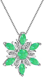 Beiswe Cute Flower Pendant Choker Fire Opal Purple Rhinestone Silver Pendant Wedding Party Necklaces for Women Charm Jewelry Gift (Green)