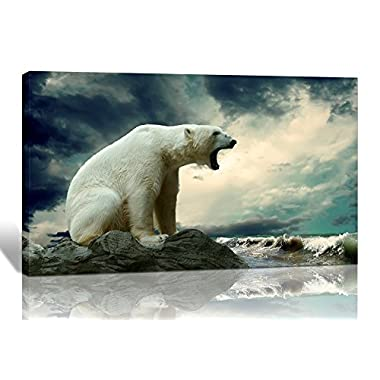 Purple Verbena Art One Panel Polar Bear Roaring Picture Prints on Canvas Wall Artwork Painting, 12x16 Inch Giclee Contemporary Framed Animal Painting for the Walls of the Room Office