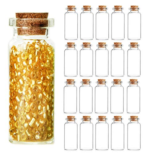 20PCS 20ml Cork Stoppers Small Glass Bottles, DIY Decoration Mini Potion Bottles, Wishing Bottles, Message Glass Jars Vial Cork, for Wedding Thanksgiving Halloween Christmas New Year Party Supplies