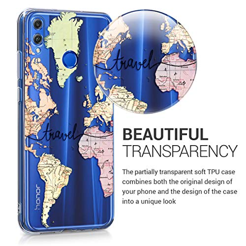 kwmobile Huawei Honor 8X Hülle - Handyhülle für Huawei Honor 8X - Handy Case in Travel Schriftzug Design Schwarz Mehrfarbig Transparent - 3