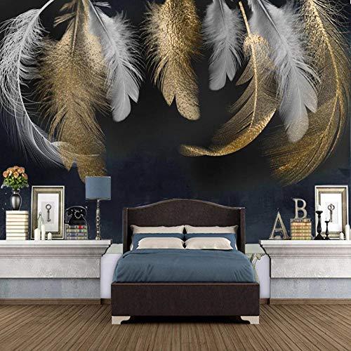 3D Fotomurales Pluma Dorada Salón Dormitorio Despacho Pasillo Decoración Murales Decoración De Paredes Moderna 450X300cm