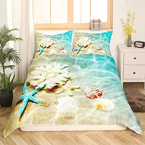 Ocean Comforter Cover Blue Beach Bedding Coastal Nature Theme Boys Girls Bedding Sets Modern Sea Starfish Shell Print Bedspread Cover for Kids Teen Room Decor Bed Quilt Cover with Zipper (Beach, Full)