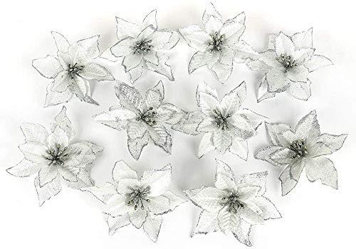 Flores Artificiales Navidad Blancas flores artificiales  Marca LouisaYork