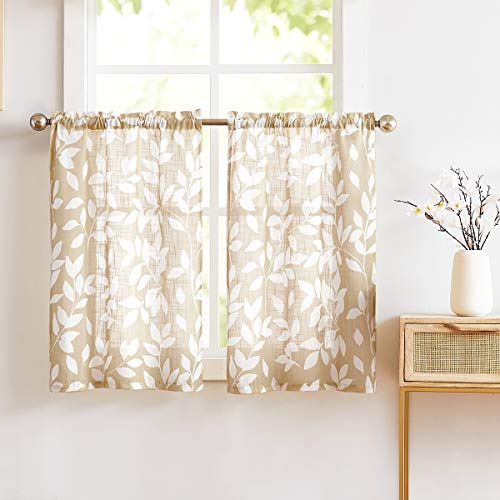 """Treatmentex Leaf Tier Curtains for Kitchen 24"""" Short Curtains for Bathroom Window Curtains Print White and Taupe 2 Panels"""