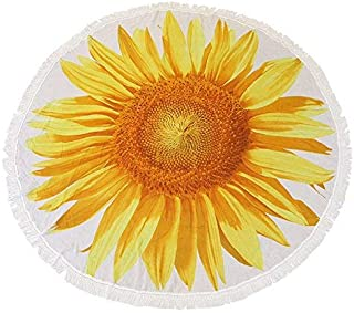Mojocraft Outdoor Sunflower Beach Blanket, Beach Towel, Beach Cover Tapetry, Roundie Beach Throw Blanket, Ultra Soft, Absorbent, Multi-Purpose, 58 inches (Sunflower)