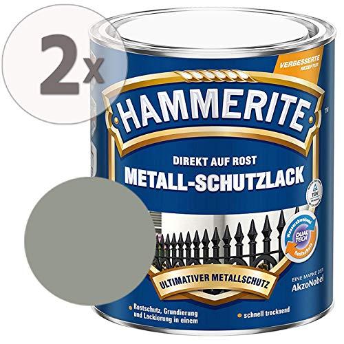 Hammerite Metall-Schutzlack glänzend Grundierung Rostschutz hellgrau Sparpaket, 2 x 750ml