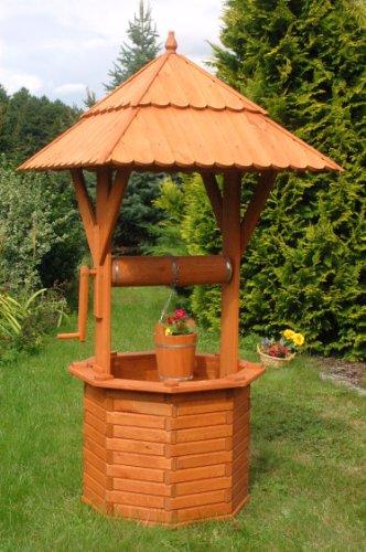 Deko-Shop-Hannusch Zierbrunnen Holzbrunnen Brunnen Gartenbrunnen 1,90 m Dach 97x97 cm imprägniert