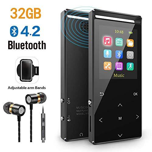 MP3 Player, 32GB MP3 Player mit Bluetooth, FM,FM-Record,AUX-Record,Armband,Schrittzähler, HiFi,Zufallswiedergabe,Sleeptimer,Touch-Taste,Metallgehäuse