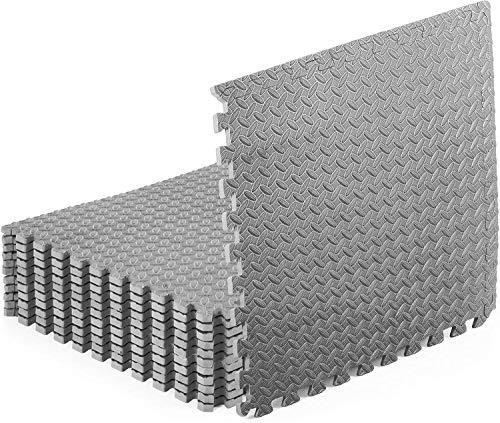 Ineinandergreifende Schaumstoff-Fußmatten, Mehrzweck-EVA-Puzzle-Fliesen, schützende Fußmatten für das Fitnessstudio, Trainingsmatten, rutschfeste Kinderspielkissen 60 cm x 60 cm (grau, 12 Stk)