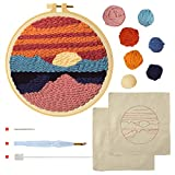 Punch Needle Embroidery Starter Kits Punch Needle Tool Threader Fabric Embroidery Hoop Yarn Rug Punch Needle