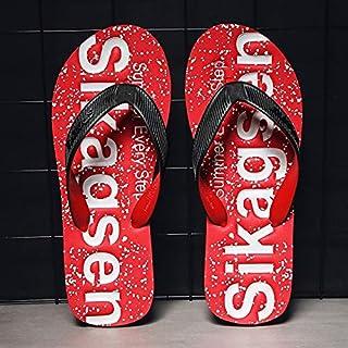 Summer Fashion Men's Flip Flops Lightweight EVA Letters Pattern Slippers Comfortable Beach Non-slip Sandals Opener (Color : Red 2305, Shoe Size : 44)