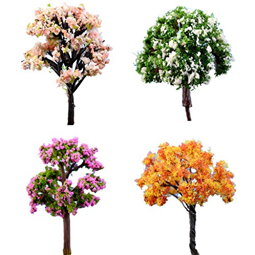 BESTIM INCUK 4-Pack Miniature Fairy Garden Ornament Trees DIY Dollhouse Plant Pot Home Decoration