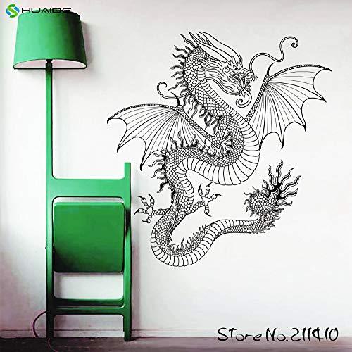 ganlanshu Wandaufkleber Drachen Tyrannosaurus Symbol Design Feuer spielzimmer Schlafzimmer Wohnzimmer wandaufkleber fensteraufkleber 56cmx58cm