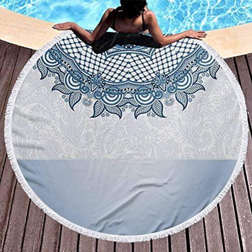 Toalla de Playa Redonda Gruesa Manta de Picnic Redonda Vintage Encaje árabe...