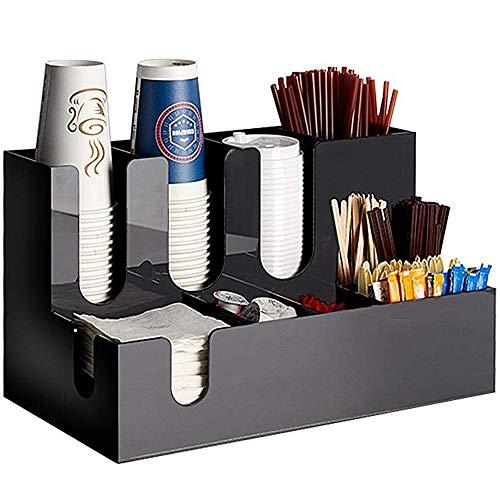 ZR&YW 9 Compartment Kaffee Menage Und Zubehör Organizer, Kaffee Menage Und Zubehör Caddy Organizer, Arylic Und Bambusholz Material, Für Kaffeetassen, Papiertuch,A