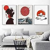 Quadro giclée su tela 3 pezzi Giapponese Giappone Geisha moderna Pittura Soggiorno Decorazione della parete Immagine (40x50 cm) Senza cornice