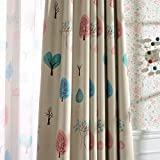 Melodieux Cartoon Trees Room Darkening Blackout Curtain 63 Inch Length for Kids Room Nursery Grommet Window Drapes, 52'W x 63'L (1 Panel)
