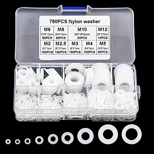 780 Pezzi Rondelle Plastica, M2 M2.5 M3 M4 M5 M6 M8 M10 M12 Rondella in Nylon, Rondelle Teflon per Viti Rubinetto Meccanica Bianco