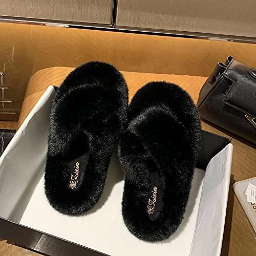 Kirin-1 Zapatillas Running Mujeres,Zapatillas de Deslizamiento de Pelo cálido de otoño Nuevo Grueso-Negro_38
