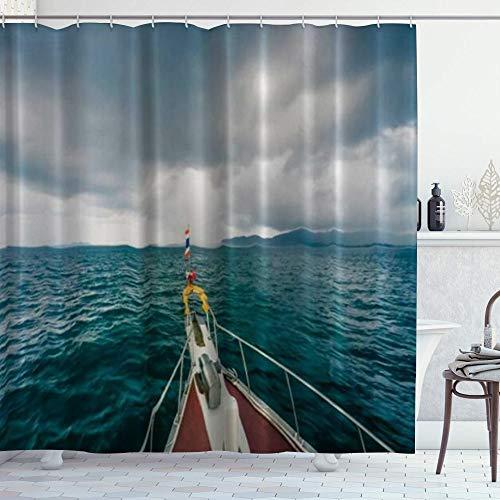 NR Duschvorhang,Boot bei extremem Wetter Tornado,Hochwertige Qualität,180x180cm Wasserdicht mit Haken für Badezimmer