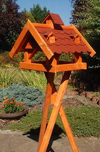 DEKO VERTRIEB BAYERN XXL Vogelhaus mit/ohne Ständer 145cm Holz Futterhaus Vogelfutterhaus Vogelvilla, Farbe: Rot mit Ständer