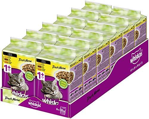Whiskas Fresh Menue 1 + Alimento para Gatos, pienso húmedo Pelo Sano, pienso húmedo en Diferentes sabores