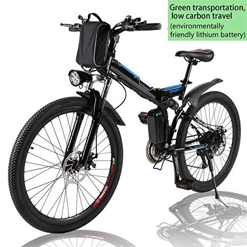 Angotrade 26 inch Electric Bike Folding Mountain E-Bike 21 Speed 36V...