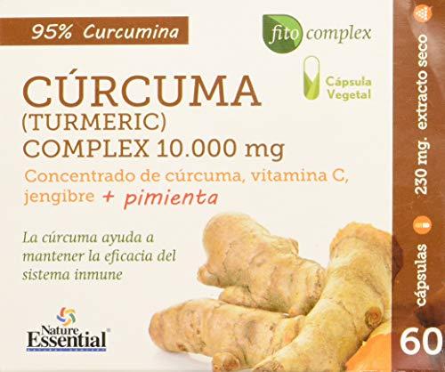 NATURE ESSENTIAL   Cúrcuma Complex   10.000 mg   Con Extracto Seco de Cúrcuma, Jengibre, Pimienta Negra y Vitamina C   Alivia el Malestar Estomacal   Antiinflamatorio   60 Cápsulas Vegetales